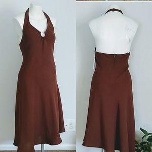 Evan Picone halter asymmetrical brown dress nwt